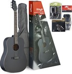 Stagg SA30D-BK Pack Dreadnought Acoustic Guitar Package (Black)