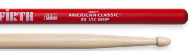 5B Wood Tip Drumstick with Vic Grip