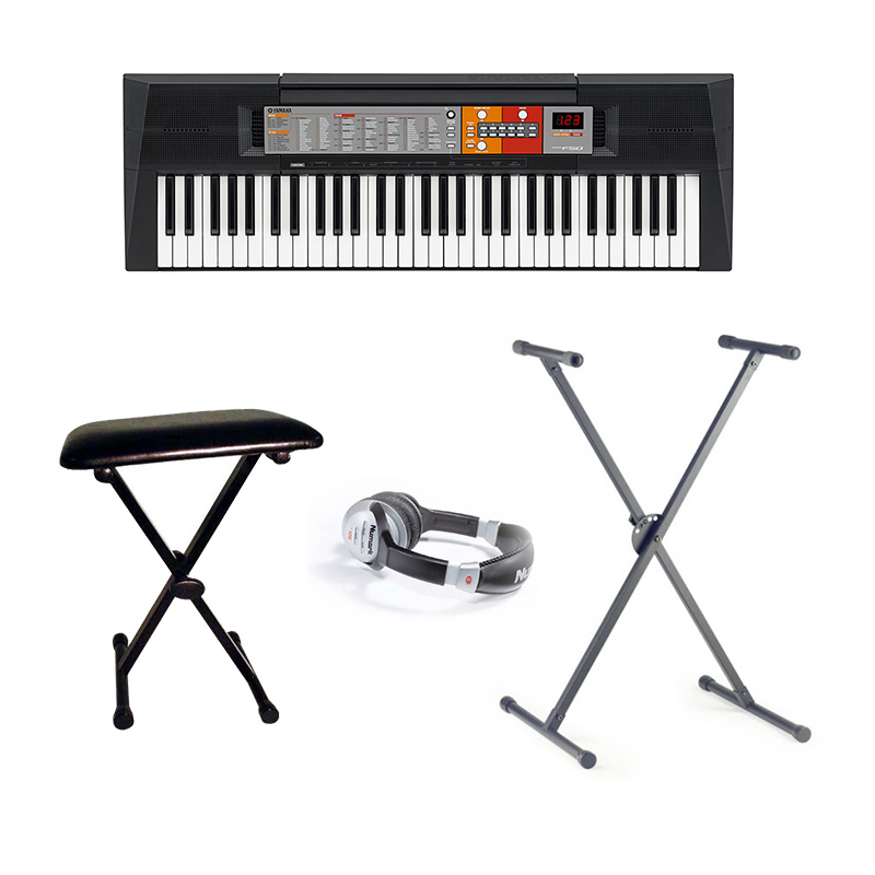 Yamaha psr f50 keyboard inc stand headphones and bench Keyboard stand and bench